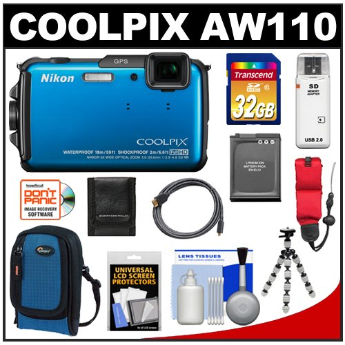 Nikon Coolpix AW110 Shock & Waterproof GPS Wi-Fi Digital Camera (Blue) with 32GB Card + Battery + Case + Float Strap + HDMI Cable + Flex Tripod + Accessory Kit