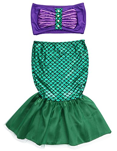 2pcs Baby Girls Kids Little Mermaid Tails Costume Swimwear Bikinis Swimsuit Bathing Outfits Dress (6-7 Years, Green)