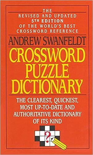Crossword Puzzle Dictionary Andrew Swanfeldt 9780061000386 Amazon