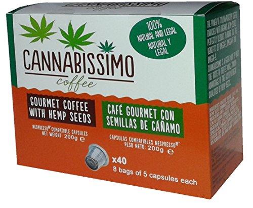 Nespresso Compatible (Original Line) 40 Cannabissimo Coffee Capsules Italian Gourmet Coffee (Medium Roast) with Hemp (Hemp Coffee)