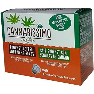 Click for Nespresso Compatible (Original Line) 40 Cannabissimo Coffee Capsules Italian Gourmet Coffee (Medium Roast) with Hemp Seeds