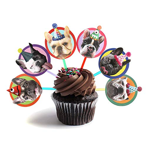 Birthday Bulldog (French Bulldog Cupcake Toppers - Set of 6 different birthday dogs party decorations)