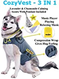 CozyVest Music & Aromatherapy Patented Dog Anxiety Vest Calming Scent Treats Canine Stress Relief Thunderstorm Fireworks Separation Pet Travel Thunder Storm Shirt Jacket Coat(Gray, Large (41-64 Lbs))