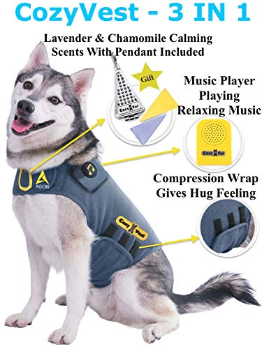 CozyVest Music & Aromatherapy Patented Dog Anxiety Vest Calming Scent Treats Canine Stress Relief Thunderstorm Fireworks Separation Pet Travel Thunder Storm Shirt Jacket Coat (Gray, Small (15-25 Lbs)