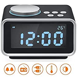"Alarm Clock Radio, Hetyre 3.2""LED Display FM Radio with Dual USB Charging Ports Snooze Aux in Music Speaker, Indoor Thermometer and Outlet Powered for iphone Phone Bedside Desktop"