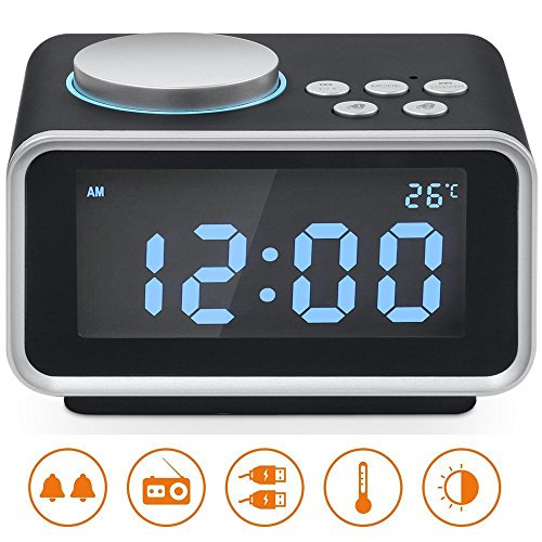 """Alarm Clock Radio, Hetyre 3.2""""LED Display FM Radio with Dual USB Charging Ports Snooze Aux in Music Speaker, Indoor Thermometer and Outlet Powered for iphone Phone Bedside Desktop"""