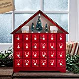 Lights4fun, Inc. Pre Lit Red Wooden Christmas Advent Calendar Decoration with Drawers