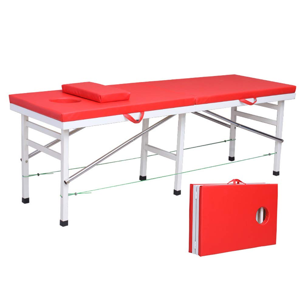 Massage Bed 71' Professional Folding Massage Table 2 Fold, Basic & Portable,Red,a by LUCKYYAN