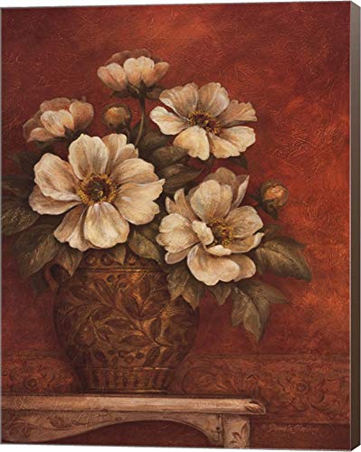 Gladding Villa - Villa Flora Peonies by Pamela Gladding Canvas Art Wall Picture, Museum Wrapped with Brown Sides, 22 x 28 inches