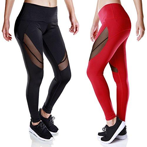 TALACCA Women Capri Workout Yoga Pants w Pocket - High Waist Tight Mesh Active Leggings