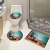 Carl Morris Movie Theater 3 piece toilet mat set Production Theme 3D Film Reels Clapperboard Tickets Popcorn and Megaphone 3 Piece Shower Mat set Multicolor