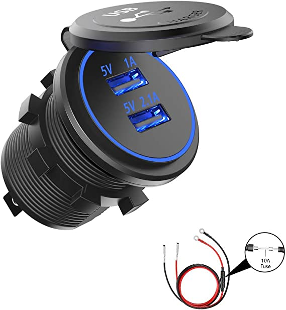 3.1A Waterproof Dual USB Port Charger Socket 12V LED for Motorcycle Car Boat