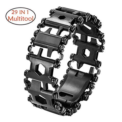 (CyberDyer Multitool Bracelet 29 in 1 Outdoor Emergency Bracelet Watch Band Screwdriver Original Friendly Wearable Wilderness Bracelet for Sailing Travel Camping Hiking (Black Bracelet))