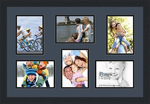 351 Wall (Art to Frames Double-Multimat-351-586/89-FRBW26079 Collage Photo Frame Double Mat with 6 - 5x7 Openings and Satin Black Frame)