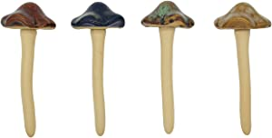 Djiale 4-Pack Ceramic Garden Mushrooms, Flower Decoration of 4.7 inches