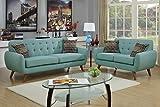 Poundex F6914 Bobkona Sonya Linen-Like 2 Piece Sofa and Loveseat Set, Laguna