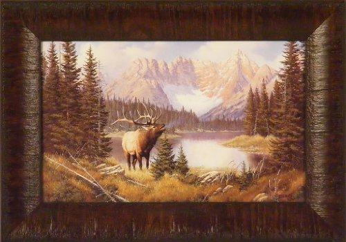 Call Of The Wild by Derk Hansen 11x15 Bull Elk Mountains Lake Framed Art Print Wall Décor Picture