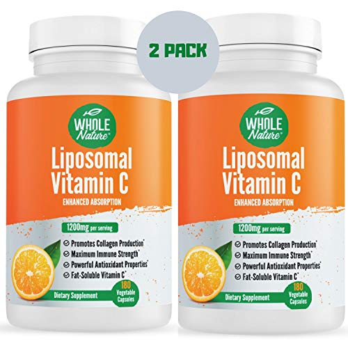 Whole Nature Liposomal Vitamin C Supplement Pills 1200 mg – High Absorption 180 Vegan Capsules Fat Soluble Vit C, Maximum Strength Immune System and Collagen Booster, Sunflower Lecithin , lypo spheric