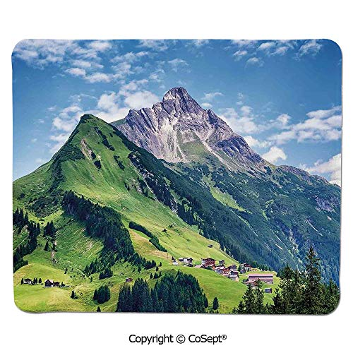 Quality Selection Comfortable Mouse Pad,Spring in Countryside Rural Valley with Village Tranquil Serene Life Image,for Laptop,Computer & PC (7.87