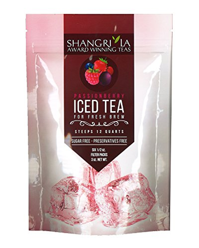 Berry Ice - Shangri La Tea Company Iced Tea, Passion Berry, Bag of 6, 1/2 Ounce Pouches (Packaging May Vary)