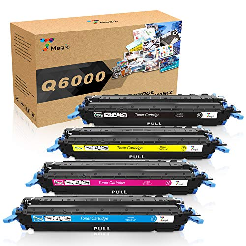 7Magic Compatible Toner, Replacement for 124A Q6000A Cartridge for Color Laserjet 1600 2600n 2605dn 2605dtn CM1015 CM1017 Printer Series 4 Pack-Black Cyan Yellow ()