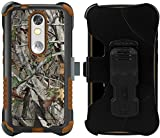 BEYOND CELL AUTUMN LEAF TREE CAMO WOODS (BLACK/BROWN) TRI-SHIELD RUGGED CASE COVER WITH STAND + BELT CLIP HOLSTER SCREEN PROTECTOR FOR VERIZON MOTOROLA DROID TURBO 2 (aka MOTO X FORCE) XT1580 XT1585