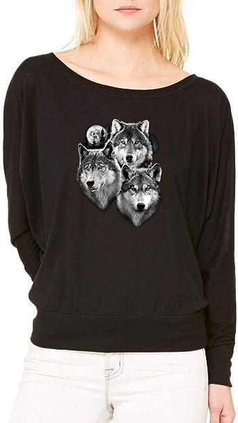 Wolf Spirit Moon Long-Sleeve Art Wolf Pack Three Wolves Flowy Shirt Black 569