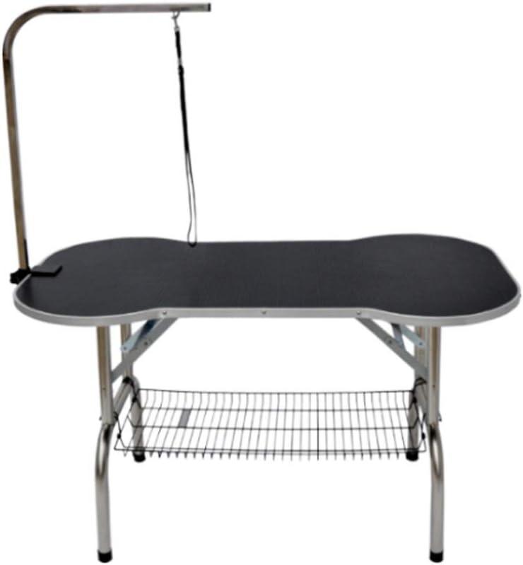 mesa plegable redonda para peinar perro de color negro