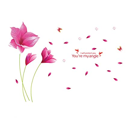 Pegatinas de pared hermoso color rosa flores mariposas ...