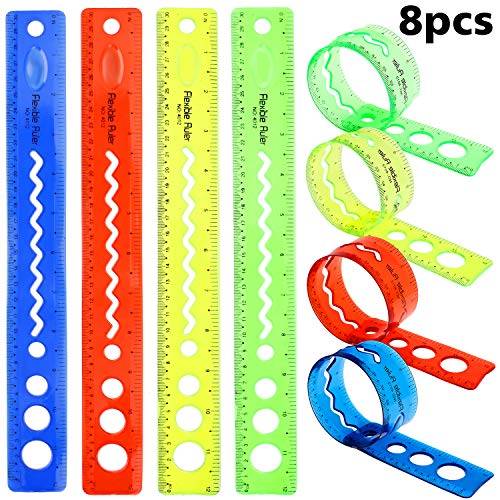 (8 Pieces Flexible Rulers Shatterproof Plastic Colored Rulers 12 Inch Transparent Straight Ruler Office School Rulers for Kids Adults Using, 4 Colors)