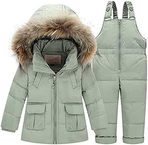 c9b4f6680 JELEUON Baby Girls Two Piece Winter Warm Hooded Fur Trim Snowsuit Puffer  Down Jacket with Snow