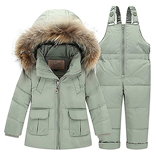 JELEUON Baby Girls Two Piece Winter Warm Hooded Fur Trim Snowsuit Puffer Down Jacket with Snow Ski Bib Pants Outfits 3-4 Years Pea Green