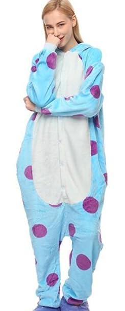 idifu Mujer Hombre Unisex con capucha de Animal de peluche pijama Onesie - Azul -