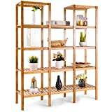 COSTWAY Bamboo Utility Shelf Bathroom Rack Plant Display Stand 5-Tier Storage Organizer Rack Cube W/Several Cell Closet Storage Cabinet (12-Pots)