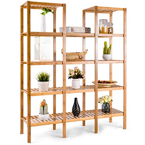 Display 12 Cube (COSTWAY Bamboo Utility Shelf Bathroom Rack Plant Display Stand 5-Tier Storage Organizer Rack Cube W/Several Cell Closet Storage Cabinet (12-Pots))