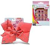 Warp Gadgets Bundle - JoJo Siwa Coral Signature Bow with Rhinestones & JoJo Siwa Press on Nails 12pcs in a Box (2 Items)