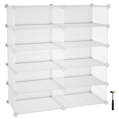 SONGMICS 5-Tier Shoe Rack, Space Saving 20-Pair Metal Shoe Storage Organizer Units, Cabinet Storage Organizer, Ideal for Entryway Hallway Bathroom Living Room and Corridor, White ULPL25W
