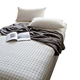 ORoa 100% Cotton Black White Grid Sheets Children Fitted Sheets Soft Single Deep Plaid Fitted Bed Sheet Full Queen Size (Full/Queen, Black White)