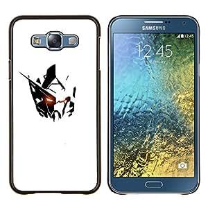 YiPhone /// Prima de resorte delgada de la cubierta del caso de Shell Armor - robot alienígena minimalista hierro negro blanco - Samsung Galaxy E7 E700