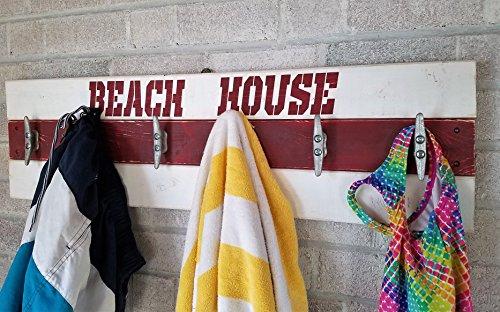 Life Guard Beach House Coat Rack - Wall Hooks - Coat Rack - Entryway Organizer - Coat Rack Wall - Towels and Bathing Suits - Beach house decor - Beech (Beach Theme House Numbers)