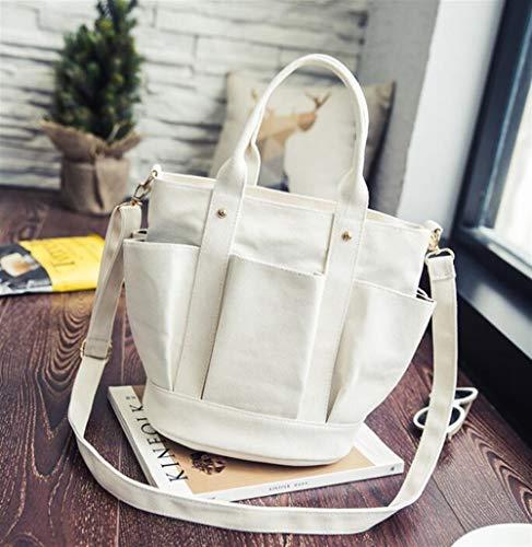 Kinue Fashion Tote Bag Female Pleated Pockets Canvas Shoulder Tote Bag Commuting Vacation Shopping Beach Handbag ()