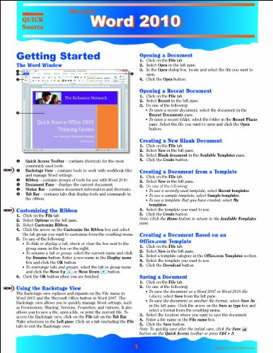 Word 2010 Quick Source Reference Guide