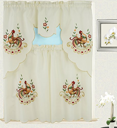 Rooster Embroidery Kitchen Curtain with Swag and Tier Set...