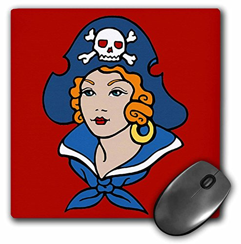 (3dRose LLC 8 x 8 x 0.25 Inches Mouse Pad, Classic Tattoo Design Pirate Girl Lady on Red Background (mp_119085_1))