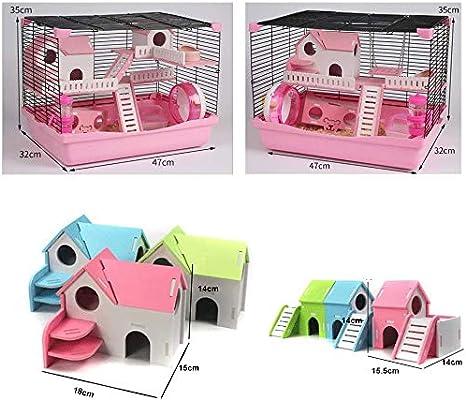 Topi casa alimentazione gabbia habitat stazione sabbia portatile rat-famiglia Hamster offrono un parco giochi interessanti per il vostro animale domestico,Pink