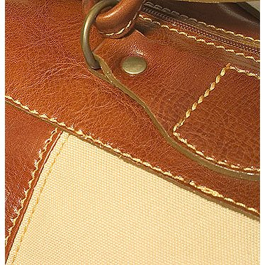 Floto Leather and Canvas Duffle tote bag luggage