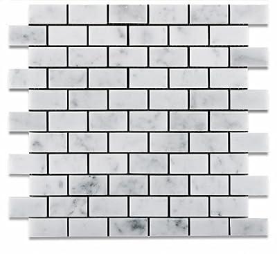 "1 X 2 Carrara White Marble Honed Brick Mosaic Tile - 6"" X 6"" Sample"