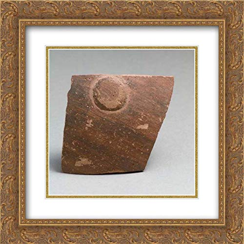 Greek Neolithic Culture - 20x20 Gold Ornate Frame and Double Matted Museum Art Print - Terracotta Vessel Fragment with boss