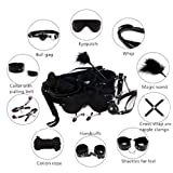 2018 New 10 Pcs Adult Costume SM Kit PU Leather Luxury Handcuffs Costume Restraint Kits- Black