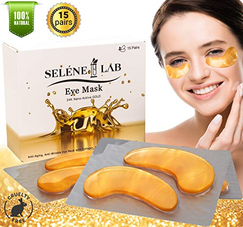 Selene Lab Under Eye Patches 24K Gold - Under Eye Mask for Puffy Eyes Bags Dark Circles Treatment Pads - Collagen Anti-Wrinkle Anti-Aging Cooling Eye Zone Patch (15 - Silicone Hydrogel